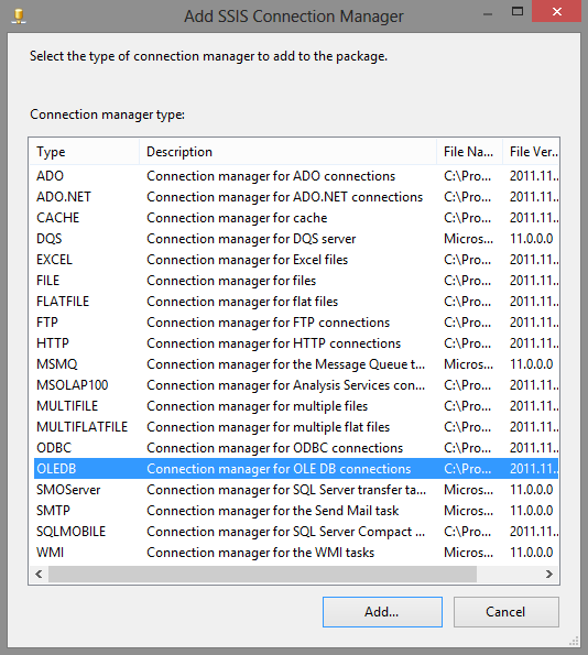 SSISConnectionManager
